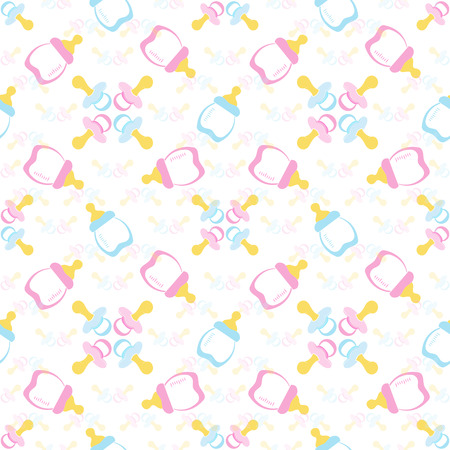 comforter: Baby bottle and Babys dummy. Comforter seamless pattern background. Kids seamless pattern. Illustration