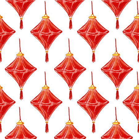 Seamless pattern with Chinese lanterns. Hand drawing watercolor.
