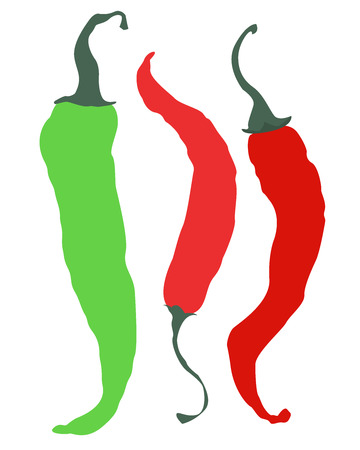 Three peppers isolated on white background. Two red peppers and one green. Illustration
