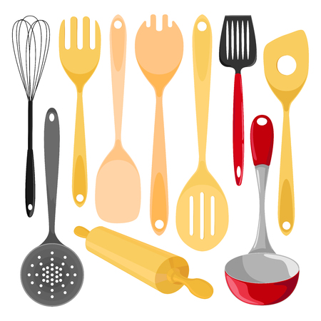 Kitchen utensils. Isolated illustration on white background. Illustration