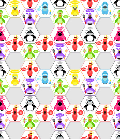 signatures: Cartoon birds in different subjects, and signatures. Seamless pattern. Illustration