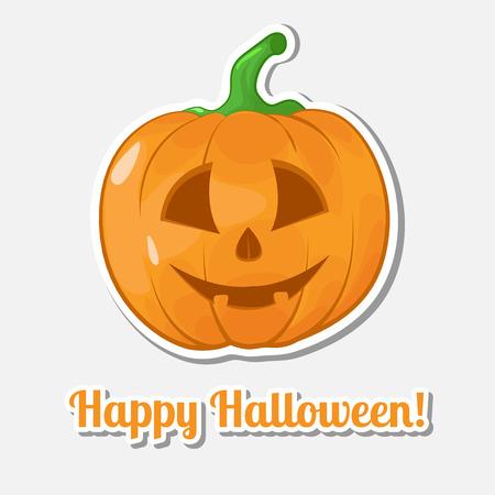 Aufkleber Halloween-Kürbis. Fröhliches Halloween. Illustration.
