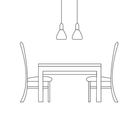 Sketch of the dining room. Two chairs, a table and two lamps isolated on white background. Vector illustration in a linear style.