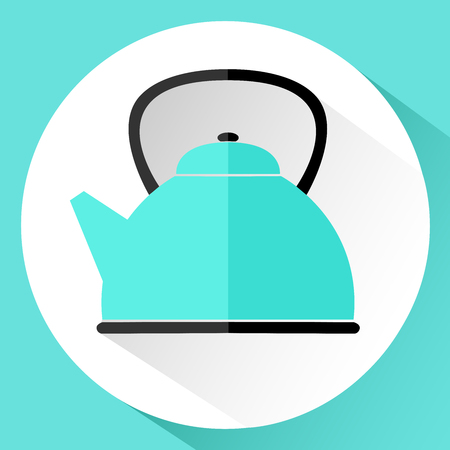 Icon. Blue teapot in flat style isolated on white background. Vector illustration.