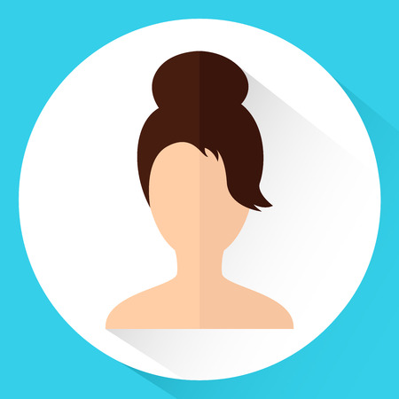 Icon Girls head in flat style. Dark-haired woman on blue background. Vector illustration. Illustration