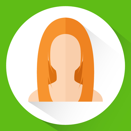 Icon Girls head in flat style. Vector illustration.Redhead on green background.