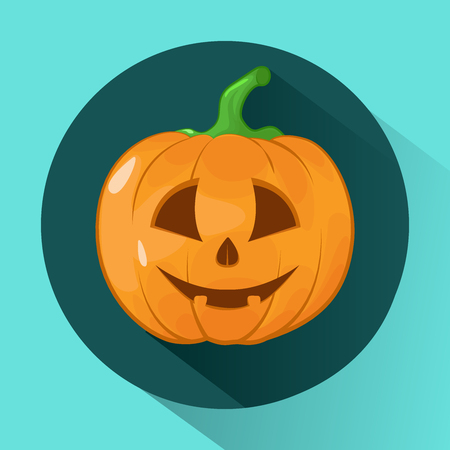 Vector illustration of Halloween Pumpkin. Icon. Face on pumpkin. Illustration