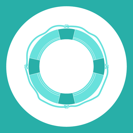 Lifebuoy icon. Flat design style. Modern flat icon in bright colors.