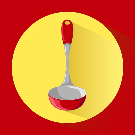 Metal ladle with red handle. Icon. Vector illustration in cartoon style.