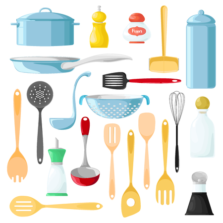 Set of different utensils for cooking. Wooden spoon. Tableware for seasonings. Pepper. Vector illustration.