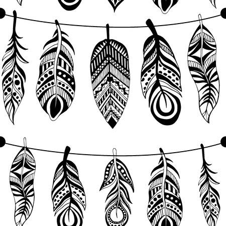 swelled: Seamless pattern with hand-drawn feathers flowers and ornaments. The pattern for your design.