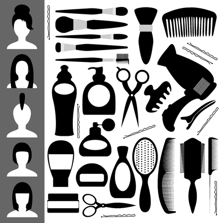 clippers comb: Icons for the beauty salon. Other items for the cabin. For haircuts and styling. Vector illustration.
