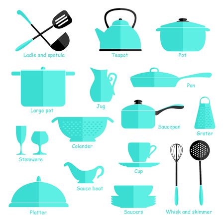 object complement: Set of blue cookware isolated on white background. Kitchen utensils. Flat. Illustration