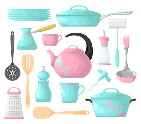 A set of kitchen utensils pink and blue. Isolation on a white background. Vector illustration. Kitchen utensils.