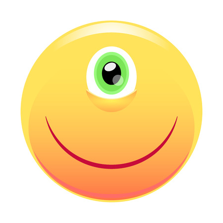 one eye: Smiley. Cyclops. Face with one eye and a smile. Vector illustration isolated on white background.