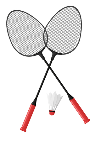 Two badminton rackets. Shuttlecock. Isolated on white background. Vector illustration in cartoon style. Illustration