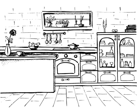 quick drawing: Sketch cuisine. Plan kitchen. Vector illustration. Quick drawing.