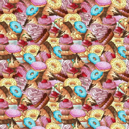 Seamless pattern. Sweets different colors and shapes. Pattern with sweets. Confection hand drawn markers.
