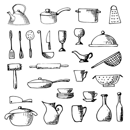 slotted: Set of hand drawn cookware. illustration.