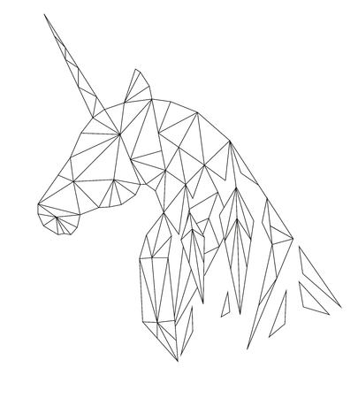 Unicorns head in the polygonal style. Isolated on white background. Illustration