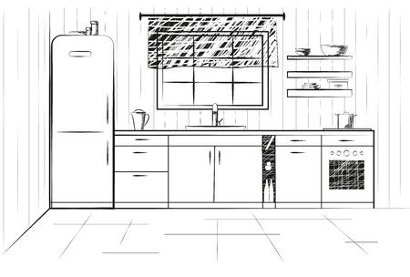 rough: Sketch cuisine. Plan kitchen illustration. Quick drawing