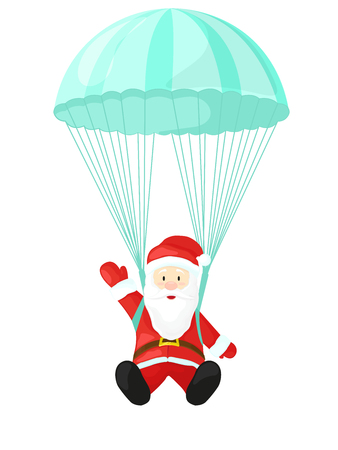 brolly: Santa Claus with a parachute. illustration in cartoon style. Santa Claus isolated on white background. Christmas picture Illustration