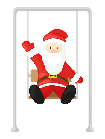 Santa Claus on a swing. illustration in cartoon style isolated on white background. Christmas picture.