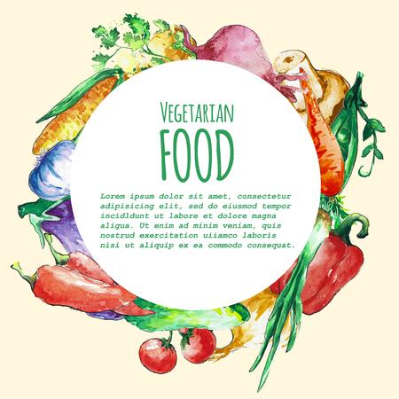 food menu: Eco food menu background. Watercolor hand drawn vegetables