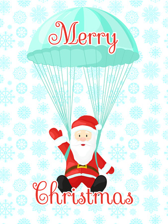 brolly: Santa Claus with a parachute. illustration in cartoon style.