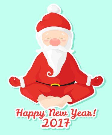 yogi: Sticker Santa Claus sits in lotus position. Santa Claus is engaged in yoga.