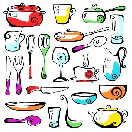 cookware: Conjunto de utensilios de cocina de dibujado a mano.