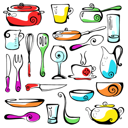 cookware: Set of hand drawn cookware. Illustration