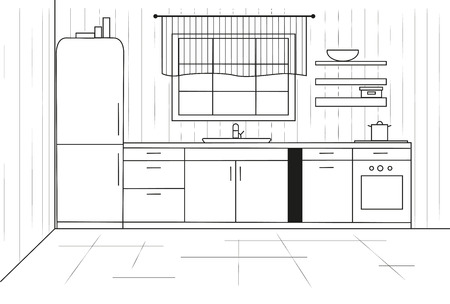 Favori Cuisine Sketch. Plan De Cuisine Illustration. Dessin Rapide Clip  WS77