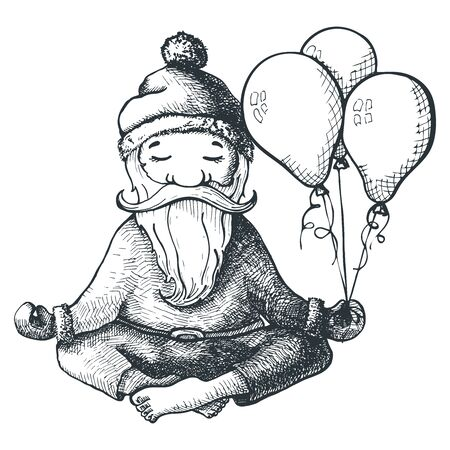 yogi: Santa Claus sits in a lotus position and holding in his hand balls.