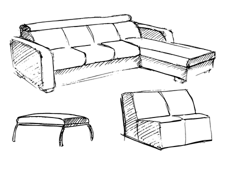 Sofa vector sketch icon isolated on background. Illustration