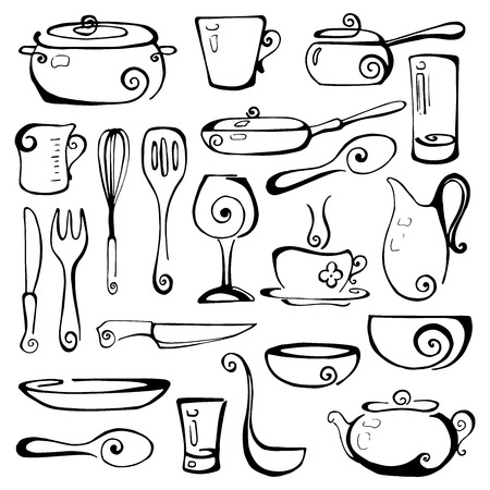 Set of hand drawn cookware. Vector illustration. Stock Illustratie