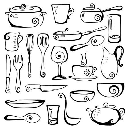 Set of hand drawn cookware. Vector illustration. Illustration