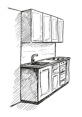 countertop: Hand drawn sketch. Linear sketch of an interior. Part of the bathroom. Vector illustration