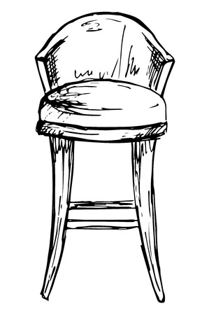 Bar chair isolate on white background. Vector illustration in a sketch style Illustration
