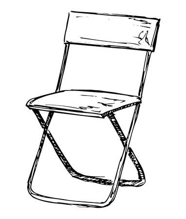 Folding chair isolated on white background. Vector illustration in a sketch style
