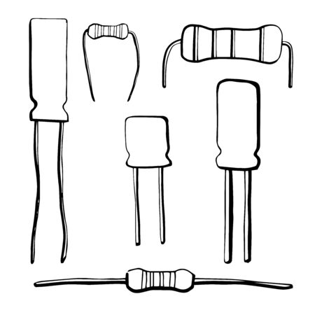 electrolytic: Set of electronic components: resistor, electrolytic capacitor isolated on white background. Vector illustration in a sketch style.