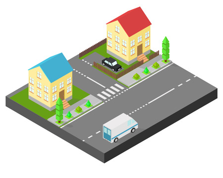 Isometric house. Two houses on the same street. Sidewalk with trees, the road the car. The yard is fenced with a wooden fence Illustration