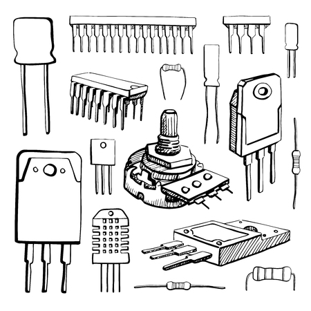 microcontroller: Electronic components: microcontroller, capacitor, potentiometer, transistor, resistor, sensor, diode isolated on white background. Vector illustration in a sketch style.