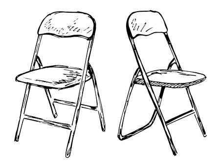 Two folding chairs on a white background isolation. Vector illustration in a sketch style