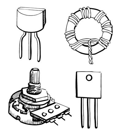 inductor: Set Electronic components: potentiometer, transistor, inductor isolated on white background. Vector illustration in a sketch style.