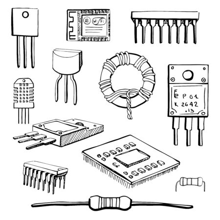 inductor: Set of electronic components: transistor, inductor, microchip, sensor, wi-fi module, cpu, resistor, microprocessor isolated on white background. Vector illustration in a sketch style. Illustration