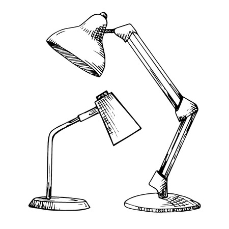 Two reading lamps isolated on white background. Vector illustration in a sketch style. Stock Illustratie