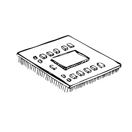 Microprocessor, cpu, processor isolated on white background. Vector illustration in a sketch style. Illustration