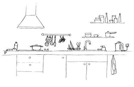 washstand: Kitchen sink. Kitchen worktop with sink. The sketch of the kitchen. Illustration