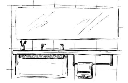Croquis dessiné main Croquis linéaire d'un intérieur. Une partie de la salle de bain.